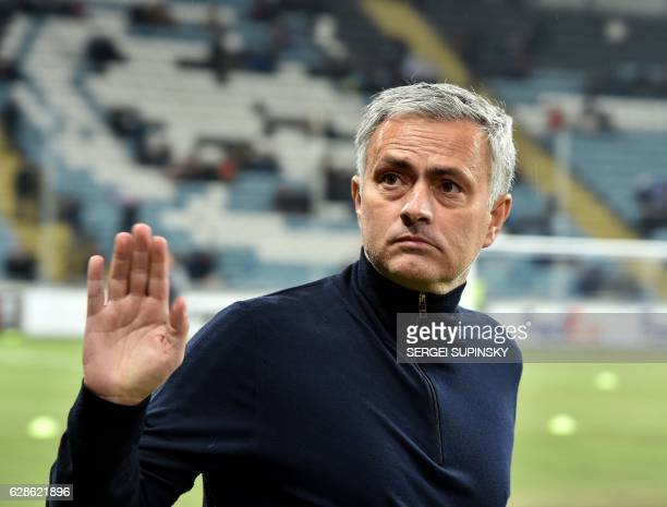 Manchester United FC coach Jose Mourinho greets the fans prior the UEFA Europa League football match between FC Zorya Luhansk and Manchester United...