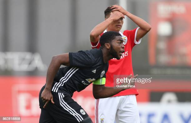 Manchester United FC defender RoShaun Williams celebrates after a goal during the UEFA Youth League match between SL Benfica and Manchester United FC...