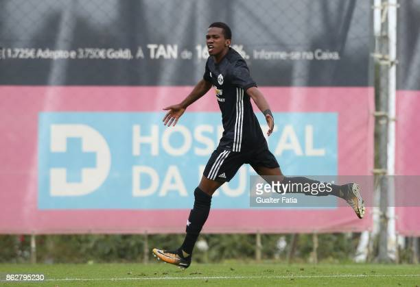 Manchester United FC forward Joshua Bohui celebrates after scoring a goal during the UEFA Youth League match between SL Benfica and Manchester United...