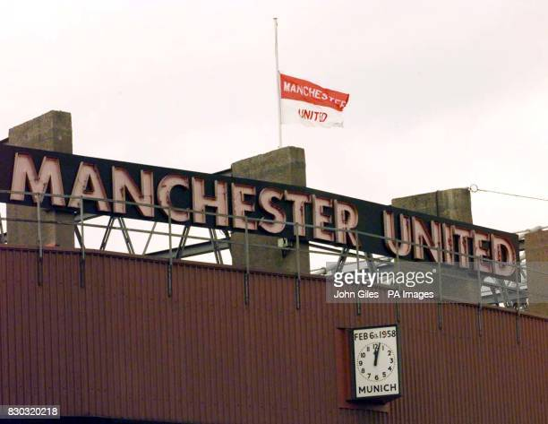 Manchester United flies its flag at half mast at its Old Trafford ground as a sign of respect on the 40th anniversary of the Munich air disaster...