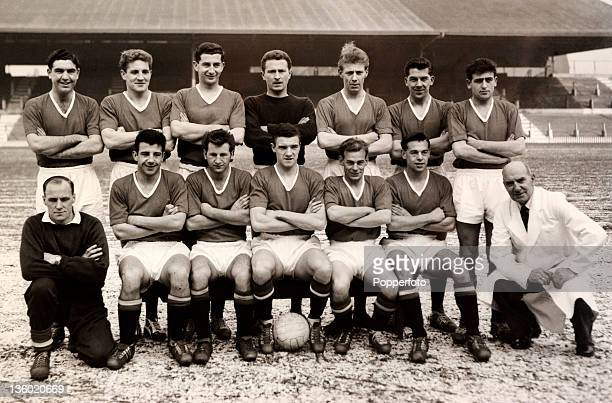 Manchester United Football Club at Old Trafford in Manchester on 12th March 1958 Back row left to right Bobby Harrop Ian Greaves Freddie Goodwin...