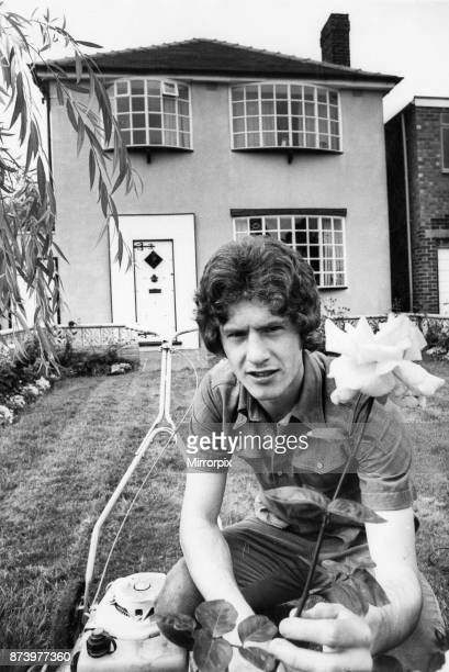 Manchester United footballer Brain Kidd in the garden of his home shortly before his move to Arsenal from relegated Manchester United 18th August 1974