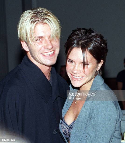 Manchester United footballer David Beckham and Victoria Adams attend the Antonio Berardi fashion show held in London