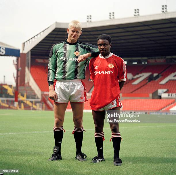Manchester United footballers Peter Schmeichel and Paul Parker at Old Trafford in Manchester circa August 1991