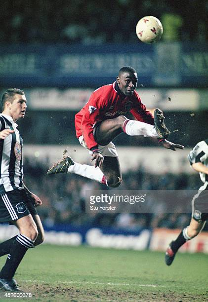 Manchester United forward Andy Cole in action during the Premier League match between Newcastle United and Manchester United at St James' Park on...