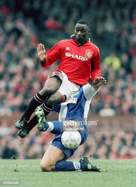 Manchester United forward Andy Cole in action during the Premier League match between Manchester United and Blackburn Rovers at Old Trafford on...