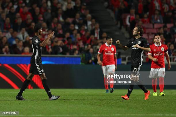 Manchester United forward Marcus Rashford from England celebrates Manchester United goal with Manchester United defender Daley Blind from Netherlands...