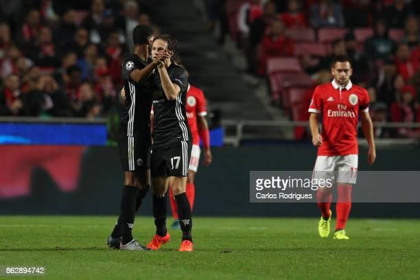 Manchester United forward Marcus Rashford from England celebrates Manchester United goal with Manchester United defender Daley Blind from Netherlands...