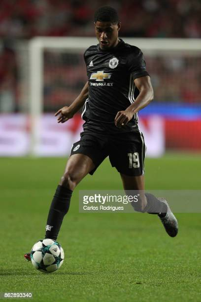 Manchester United forward Marcus Rashford from England during SL Benfica v Manchester United UEFA Champions League round three match at Estadio da...