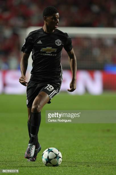 Manchester United forward Marcus Rashford from England during SL Benfica v Manchester United UEFA Champions League round three match at Estadio da...