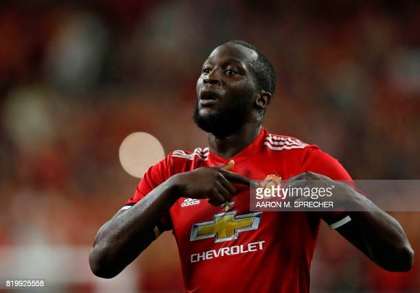 Manchester United forward Romelu Lukaku celebrates after scoring a goal during the International Champions Cup soccer match against Manchester City...