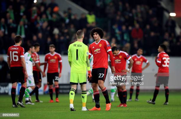 Manchester United goalkeeper David De Gea and Marouane Fellaini after the game