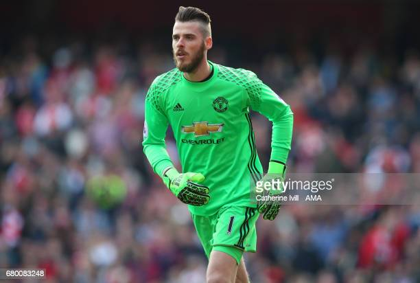 Manchester United goalkeeper David de Gea during the Premier League match between Arsenal and Manchester United at Emirates Stadium on May 7 2017 in...