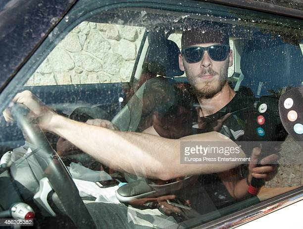 Manchester United goalkeeper David De Gea is seen leaving his girlfriend's house on September 1 2015 in Madrid Spain