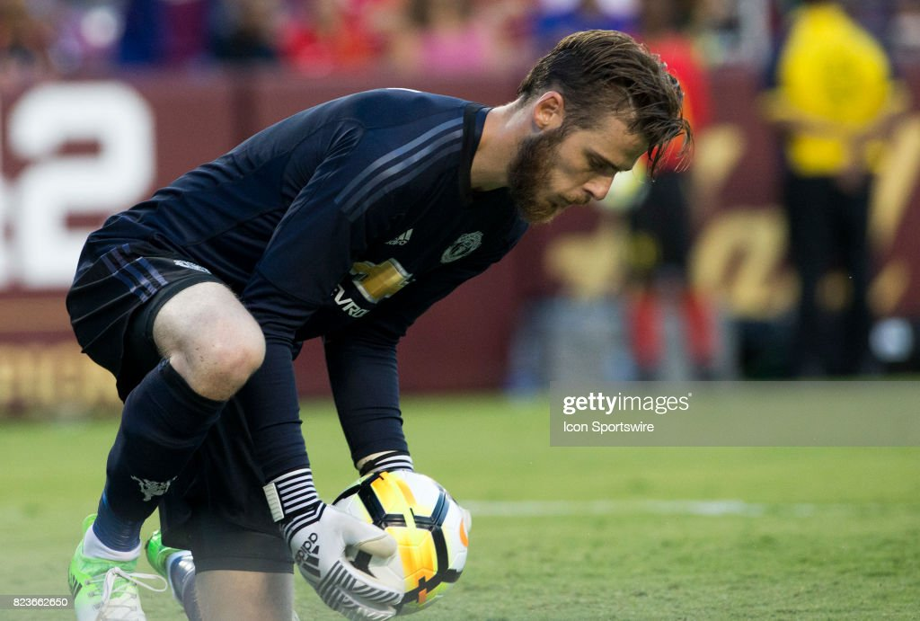 Manchester United goalkeeper David de Gea (1) makes a save during an International Champions Cup match between Barcelona and Manchester United on July 26, 2017, at Fedex Field, in Landover, Maryland. Barcelona defeated Manchester United 1-0.