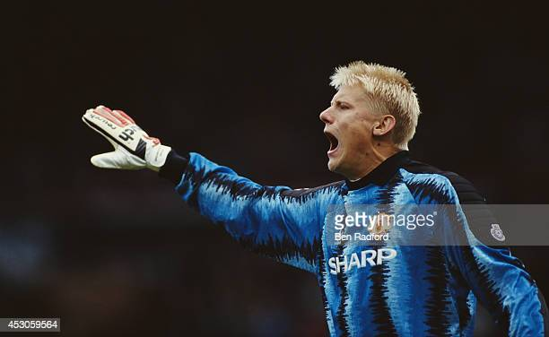 Manchester United goalkeeper Peter Schmeichel in action during a League Division One match between Manchester United and Liverpool at Old Trafford on...