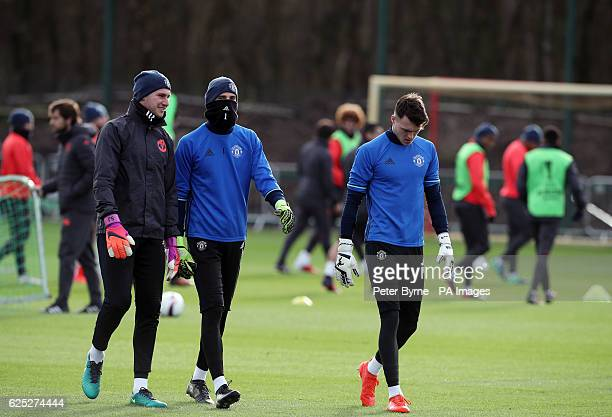 Manchester United goalkeepers Sam Johnstone David De Gea and Kieran O'Hara during the training session at the Aon Training Complex Carrington