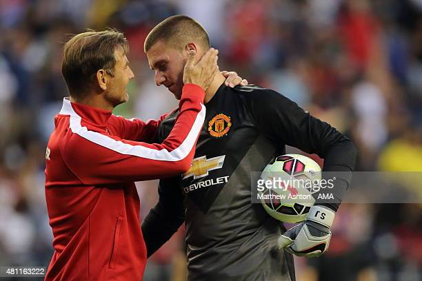 Manchester United Goalkeeping Coach Frans Hoek with Sam Johnstone of Manchester United during the International Champions Cup 2015 match between Club...