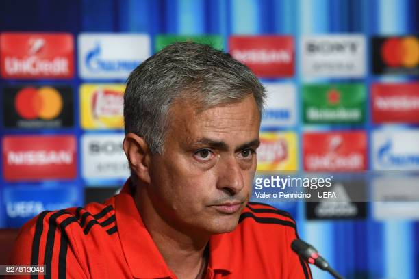 Manchester United head coach Jose Mourinho talks with the media during a press conference after the UEFA Super Cup between Real Madrid and Manchester...
