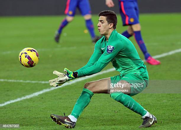 Manchester United keeper Joel Castro Pereira claims the ball during the Barclays Under 21 League match between Sunderland and Manchester United at...