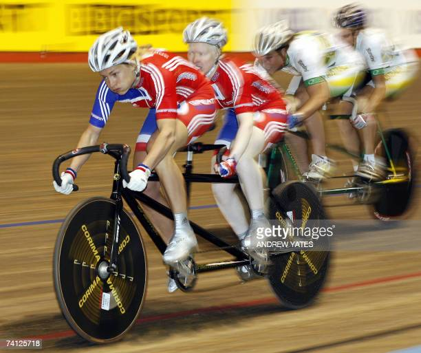 Great Britons Aileen McGlynn and Ellen Hunter beat Australian's Felicity Johnson and Katie Parker during the Women's tandem sprint final at the Visa...