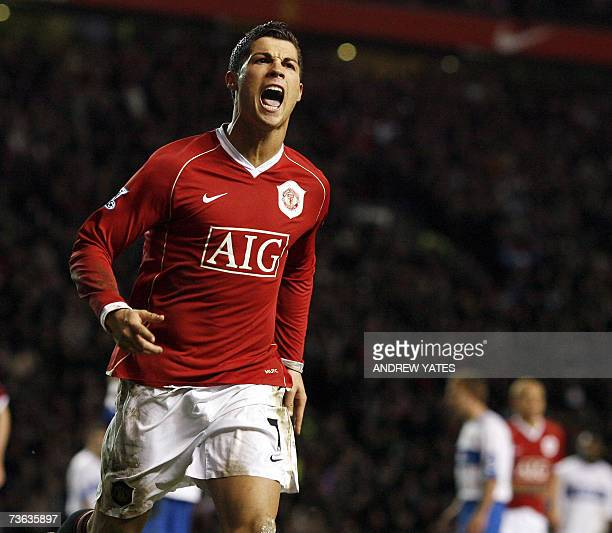 Manchester United's Cristiano Ronaldo celebrates scoring from the penalty spot against Middlesbrough during their FA Cup Quarter Final replay...