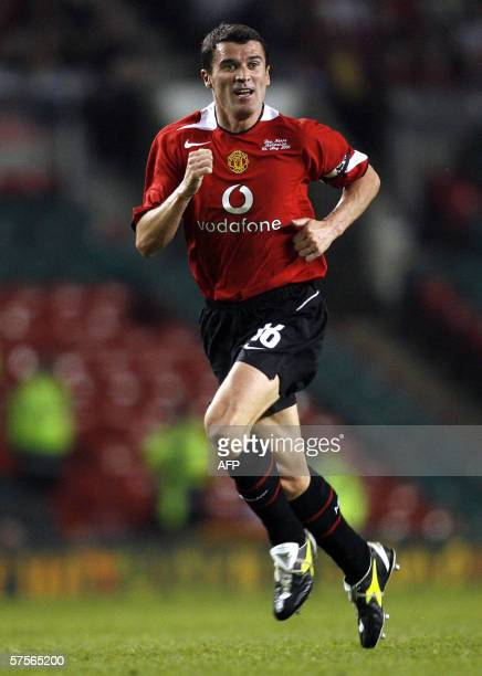 Roy Keane runs during his Testimonial soccer match between Manchester United and Celtic at Old Trafford Manchester England 09 May 2006 AFP...