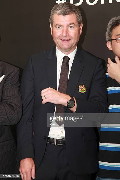 Manchester United legend Denis Irwin attends the official launch of Manchester United's partnership with Tag Heuer on July 24 2016 in Beijing China