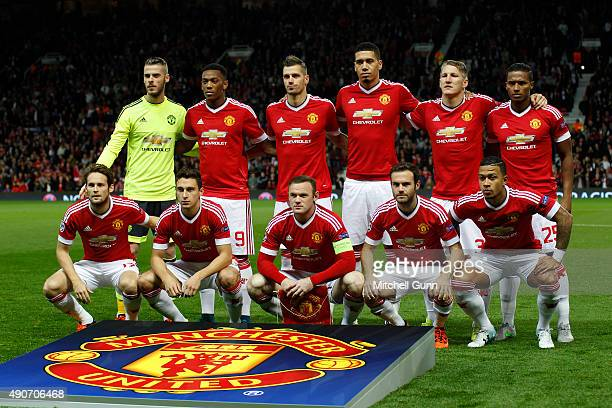 Manchester United line up before the Champions League match between Manchester United and Vfl Wolfsburg at Old Trafford Stadium on September 30 2015...