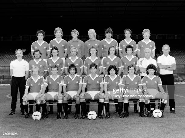 Season Photocall Manchester United FC pose for a team photograph Back Row LR Kevin Moran Gordon McQueen Paddy Roche Gary Bailey Nikola Jovanovic Joe...