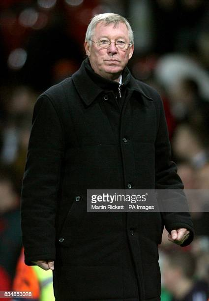 Manchester United manager Alex Ferguson makes his way from the touchline after the final whistle