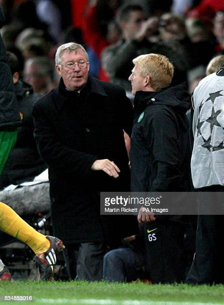Manchester United manager Alex Ferguson shakes hands with Celtic manager Gordon Strachan on the touchline after the final whistle