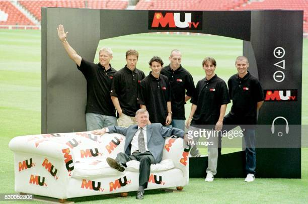 FEATURE Manchester United manager Alex Ferguson takes it easy as he launches MUTV at Old Trafford today with his players Peter Schmeichel Ronnie...