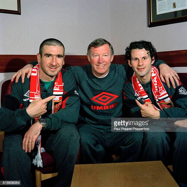 Manchester United manager Alex Ferguson with Eric Cantona and Ryan Giggs circa May 1996