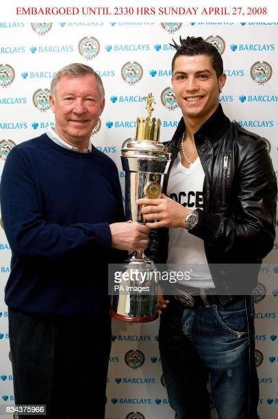 Manchester United manager Alex Ferguson with PFA Players Player of the Year award winner Cristiano Ronaldo at Carrington Manchester