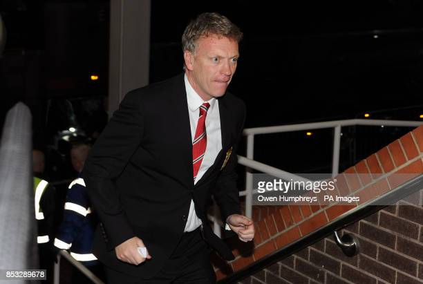 Manchester United manager David Moyes arrives ahead of the Barclays Premier League match at the St James' Park Newcastle