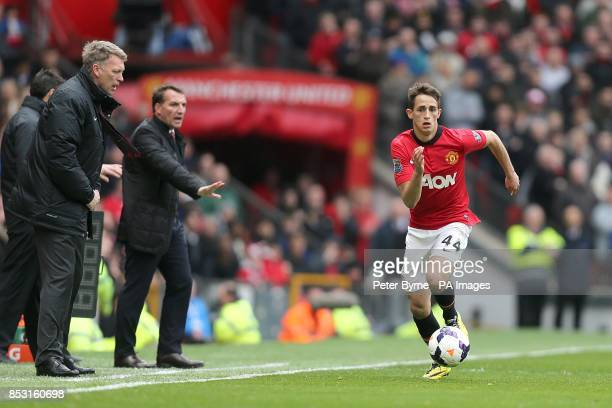 Manchester United manager David Moyes encourages Adnan Januzaj on from the touchline