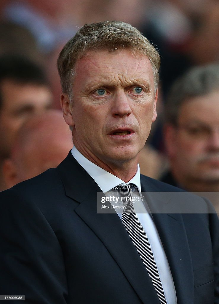 Manchester United Manager <a gi-track='captionPersonalityLinkClicked' href=/galleries/search?phrase=David+Moyes&family=editorial&specificpeople=215482 ng-click='$event.stopPropagation()'>David Moyes</a> looks on prior to the Barclays Premier League match between Manchester United and Chelsea at Old Trafford on August 26, 2013 in Manchester, England.