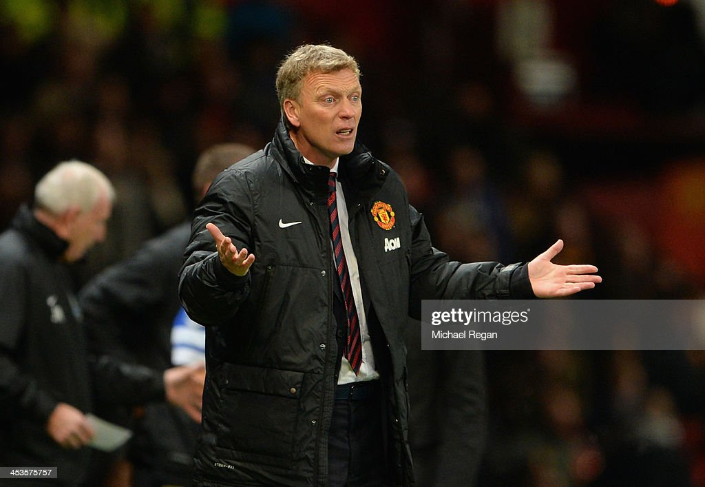 Manchester United Manager David Moyes reacts during the Barclays Premier League match between Manchester United and Everton at Old Trafford on December 4, 2013 in Manchester, England.
