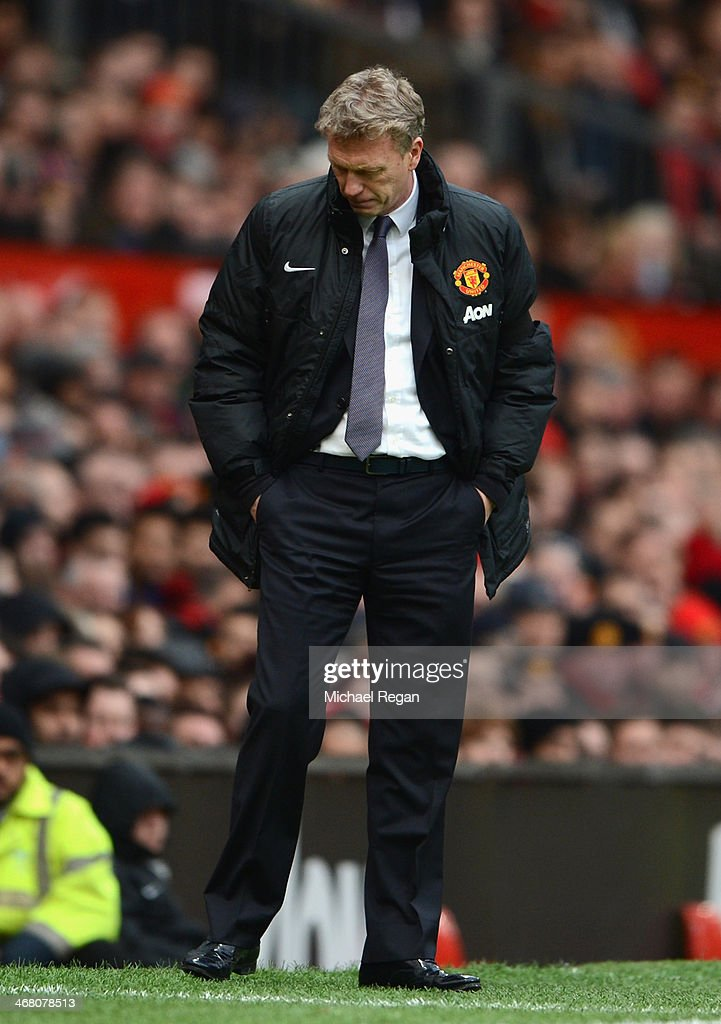 Manchester United Manager David Moyes reacts during the Barclays Premier League match between Manchester United and Fulham at Old Trafford on February 9, 2014 in Manchester, England.