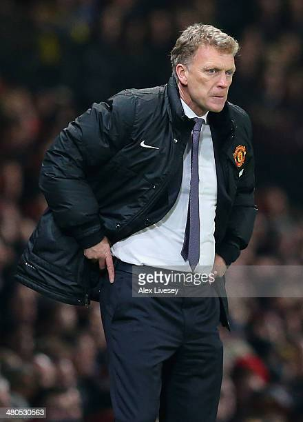 Manchester United Manager David Moyes reacts during the Barclays Premier League match between Manchester United and Manchester City at Old Trafford...