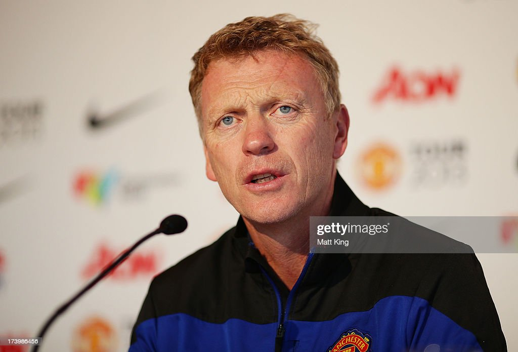 Manchester United manager <a gi-track='captionPersonalityLinkClicked' href=/galleries/search?phrase=David+Moyes&family=editorial&specificpeople=215482 ng-click='$event.stopPropagation()'>David Moyes</a> speaks to the media during a Manchester United press conference at Museum of Contemporary Art on July 19, 2013 in Sydney, Australia.