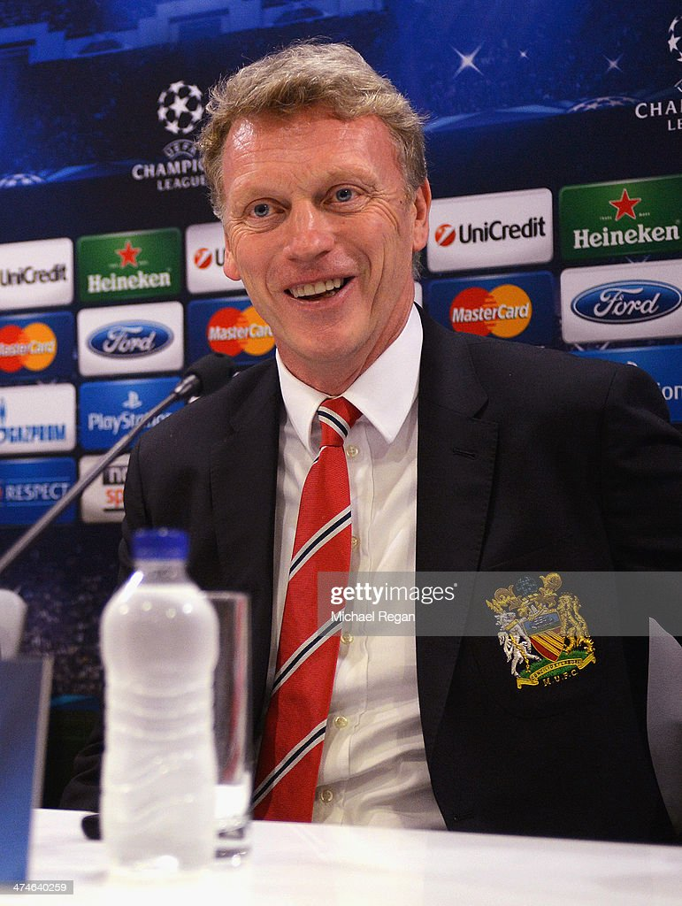 Manchester United manager <a gi-track='captionPersonalityLinkClicked' href=/galleries/search?phrase=David+Moyes&family=editorial&specificpeople=215482 ng-click='$event.stopPropagation()'>David Moyes</a> speaks to the media during the Manchester United press conference at Karaiskakis Stadium on February 24, 2014 in Piraeus, Greece.