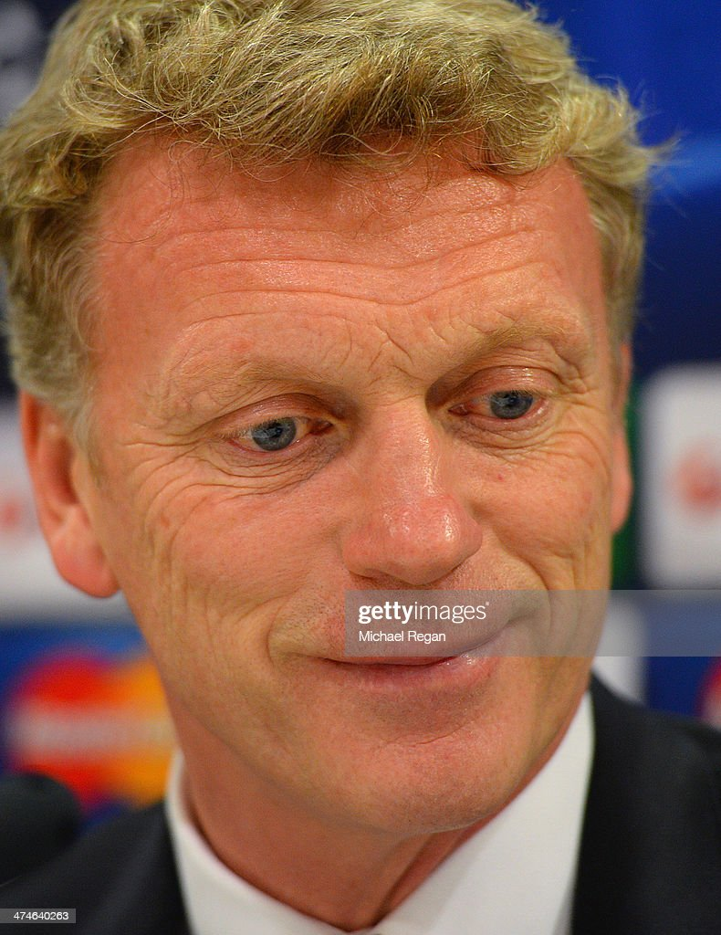 Manchester United manager David Moyes speaks to the media during the Manchester United press conference at Karaiskakis Stadium on February 24, 2014 in Piraeus, Greece.