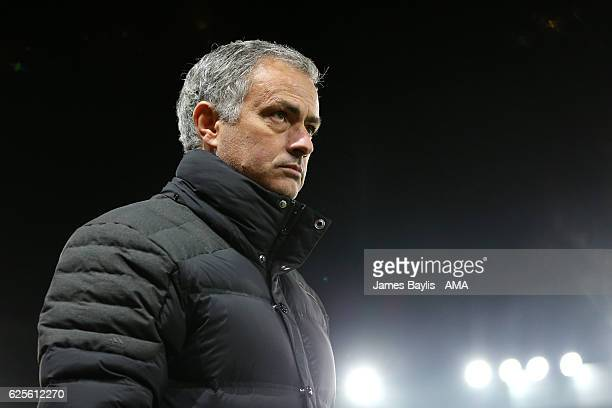 Manchester United Manager / Head Coach Jose Mourinho looks on prior to the UEFA Europa League match between Manchester United FC and Feyenoord at Old...