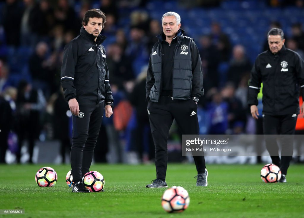 Manchester United manager Jose Mourinho and assistant manager Rui Faria (left) before the Emirates FA Cup, Quarter Final match at Stamford Bridge, London.