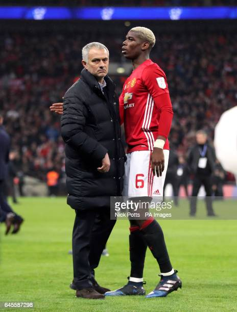 Manchester United manager Jose Mourinho and Paul Pogba after the EFL Cup Final at Wembley Stadium London