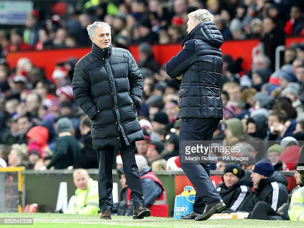 Manchester United manager Jose Mourinho and Sunderland manager David Moyes on the touchline during the Premier League match at Old Trafford Manchester