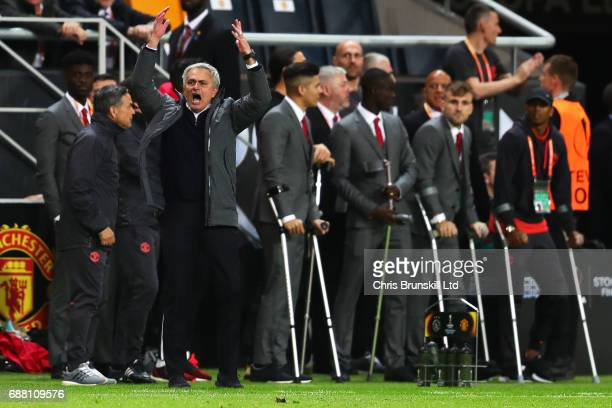 Manchester United manager Jose Mourinho celebrates on the touchline during the UEFA Europa League Final match between Ajax and Manchester United at...