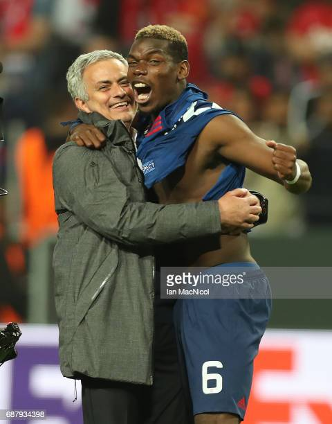 Manchester United manager Jose Mourinho celebrates with Paul Pogba of Manchester United during the UEFA Europa League Final match between Ajax and...